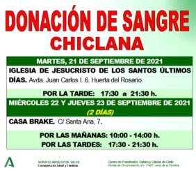 Cartel de Donación de sangre en Chiclana de la Frontera