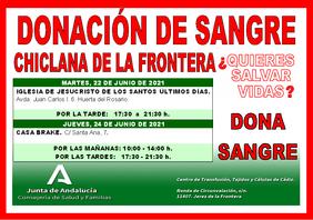 Cartel de la Campaña de donación sanre Chiclana Junio 2021